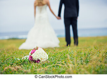 Wedding Flower Bouquet, shallow depth of field focus on...