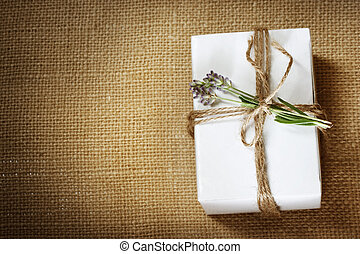 Homemade Giftbox with Lavender Sprig - Homemade giftbox with...