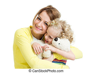 mother playing with her kid girl and plush toy