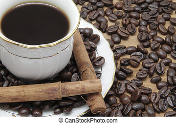 coffee cup - coffee cup,canela and some coffee beans