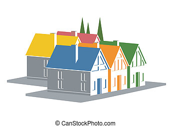 Vacation homes icon - An illustration of colorful vacation...