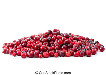 Pile of ripe cranberries isolated on the white background