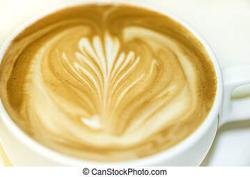Coffee Latte rosetta over white background