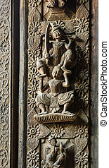 Burmese wooden carving - Wooden carving detail at Shwenandaw...
