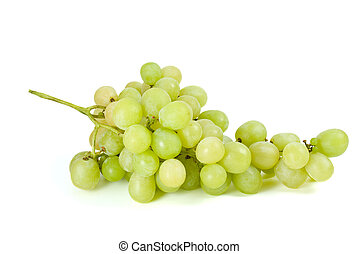 Green grapes bunch (muscat breed) isolated on the white...
