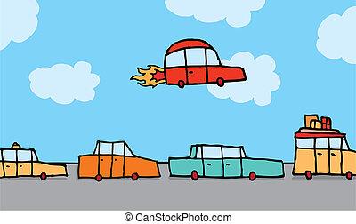 Flying car gets above traffic - Cartoon illustration of a...