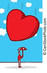 Huge heart falling on innocent guy head