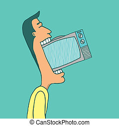 Man consuming television - Cartoon illustration of an...