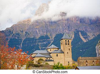 Torla Church in Pyrenees Ordesa Valley at Aragon Huesca Spain