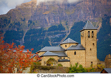 Torla Church in Pyrenees Ordesa Valley at Aragon Huesca...
