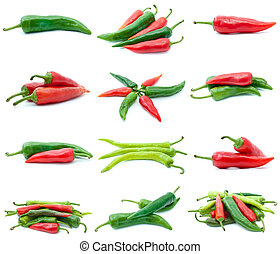 Set of different chili peppers