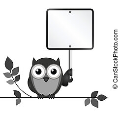Blank Sign - Owl with blank sign copy space for own text...