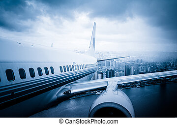 away - view from the window of airplane.shanghai lujiazui...