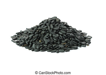 Black sesame - Heap of black sesame over white background