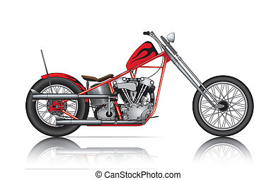 red custom chopper on white background