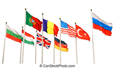 flags of different countries isolated on white background...
