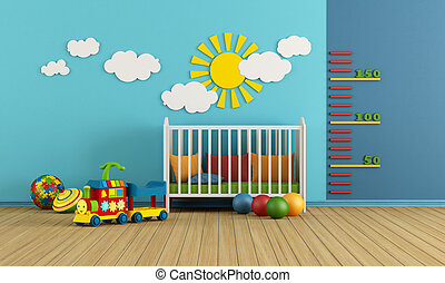 Baby room - Child room with baby crib and toys - rendering