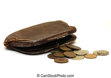 Very old purse of 19 centuries and the Soviet coins