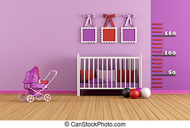 Pink baby room with crib and toys - rendering