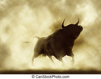 Angry bull - Illustration of an angry bull silhouette in a...