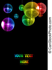 party balls - colorful mirror party balls against black...
