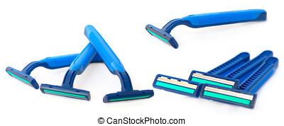 set of razors isolated - set of blue disposable razors...