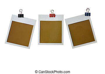 polaroid frames - three photo frames with clamp isolated on...