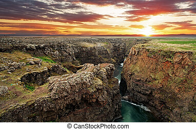Iceland - Canyon Kolugil at sunset