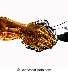 Golden Handshake - 3d render of a golden hand shaking a...