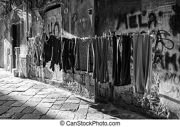 Hanging clothes, Palermo - View of hanging clothes in the...