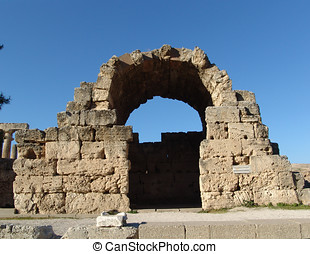 Corinth Acropolis - Ruined archway of ancient Corinth...