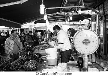 Open-air market, Palermo - PALERMO, ITALY - DECEMBER 28,...