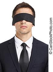 Blind-folded businessman - Portrait of blind-folded...