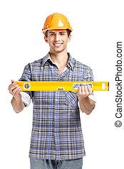Foreman in range helmet handing geodetic level
