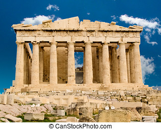 Parthenon temple in Athens - Exterior of Parthenon temple in...