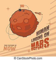 Vintage space postcard of human landing on Mars - Vintage...