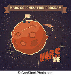 Vintage postcard of Mars colonization project - Vintage...