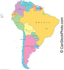 South America Single States - Political map of South America...