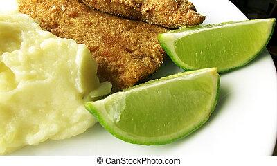 peixe, milanesa, limão - peixe, frito