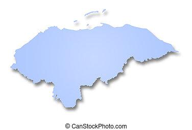 Map of Honduras - A 2D illustration of a map of Honduras