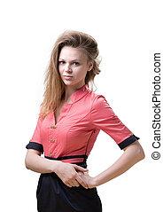 Slender pleasant blonde women in a pink dress