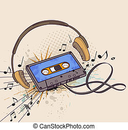 Audiocassette and headphones - Musical vector background...