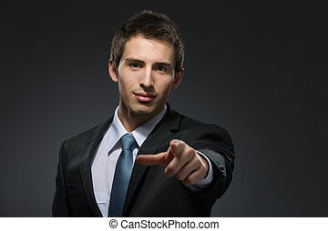 Pointing with finger manager - Portrait of pointing with...