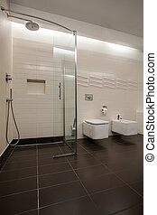 Travertine, casa, -, vidrio, ducha