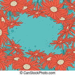 Background with red gerbera