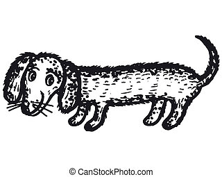dachshund dog - hand drawn, cartoon, sketch illustration of...