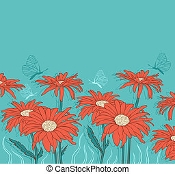 Green background with red gerbera - Green vector floral...