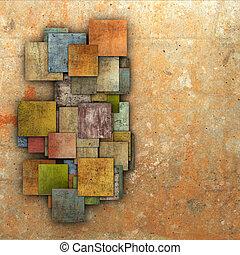 fragmented multiple color square tile grunge pattern backdrop