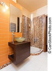 Classy house - orange bathroom