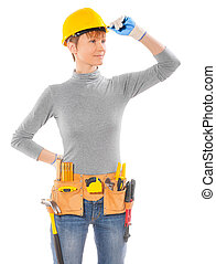 female wearing working clothes with belt of tools isolated